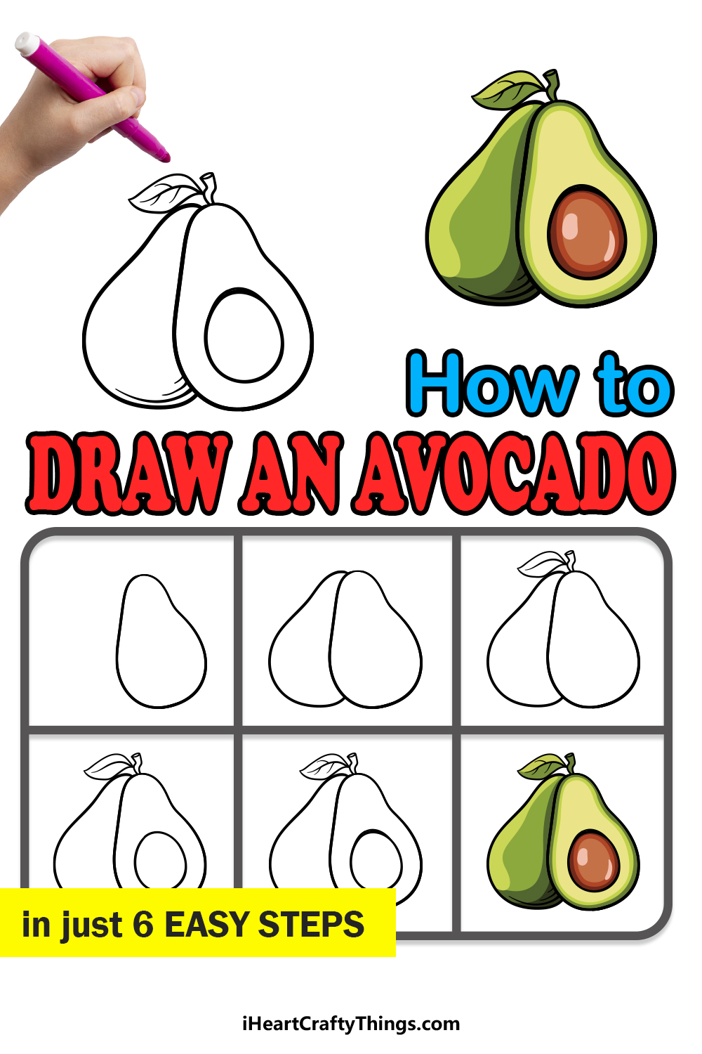 how to draw avocado in 6 easy steps