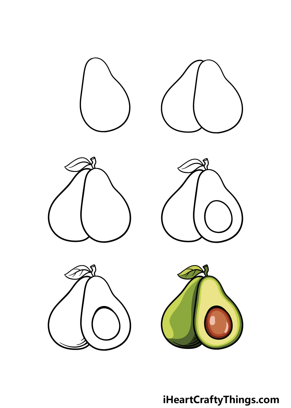 how to draw avocado in 6 steps
