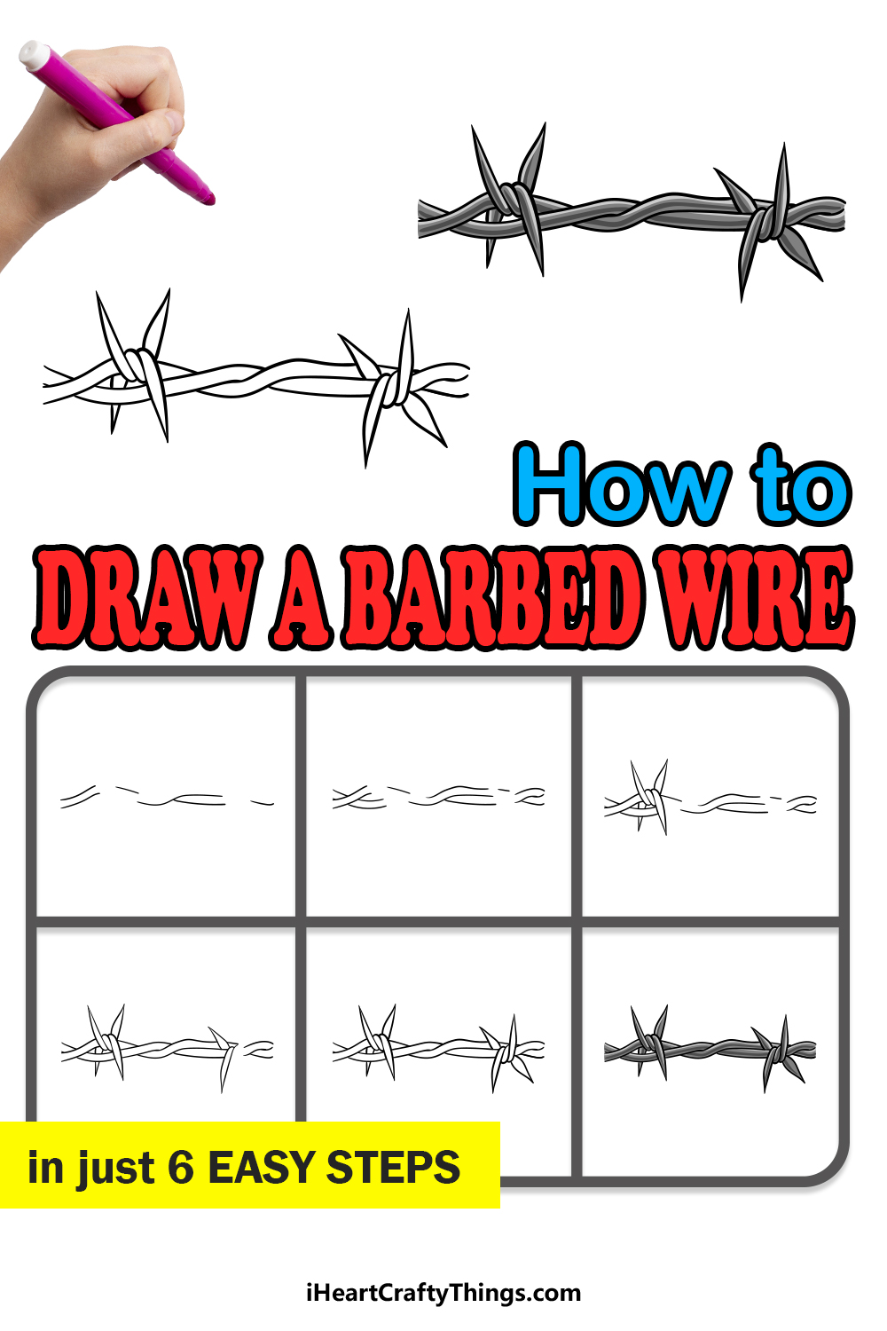 how to draw barbed wire in 6 easy steps