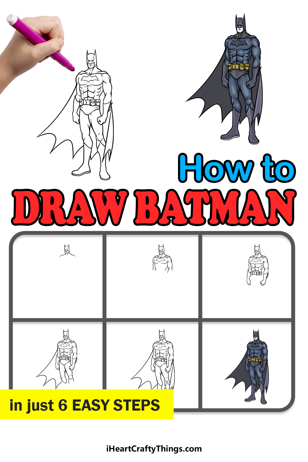 how to draw Batman in 6 easy steps