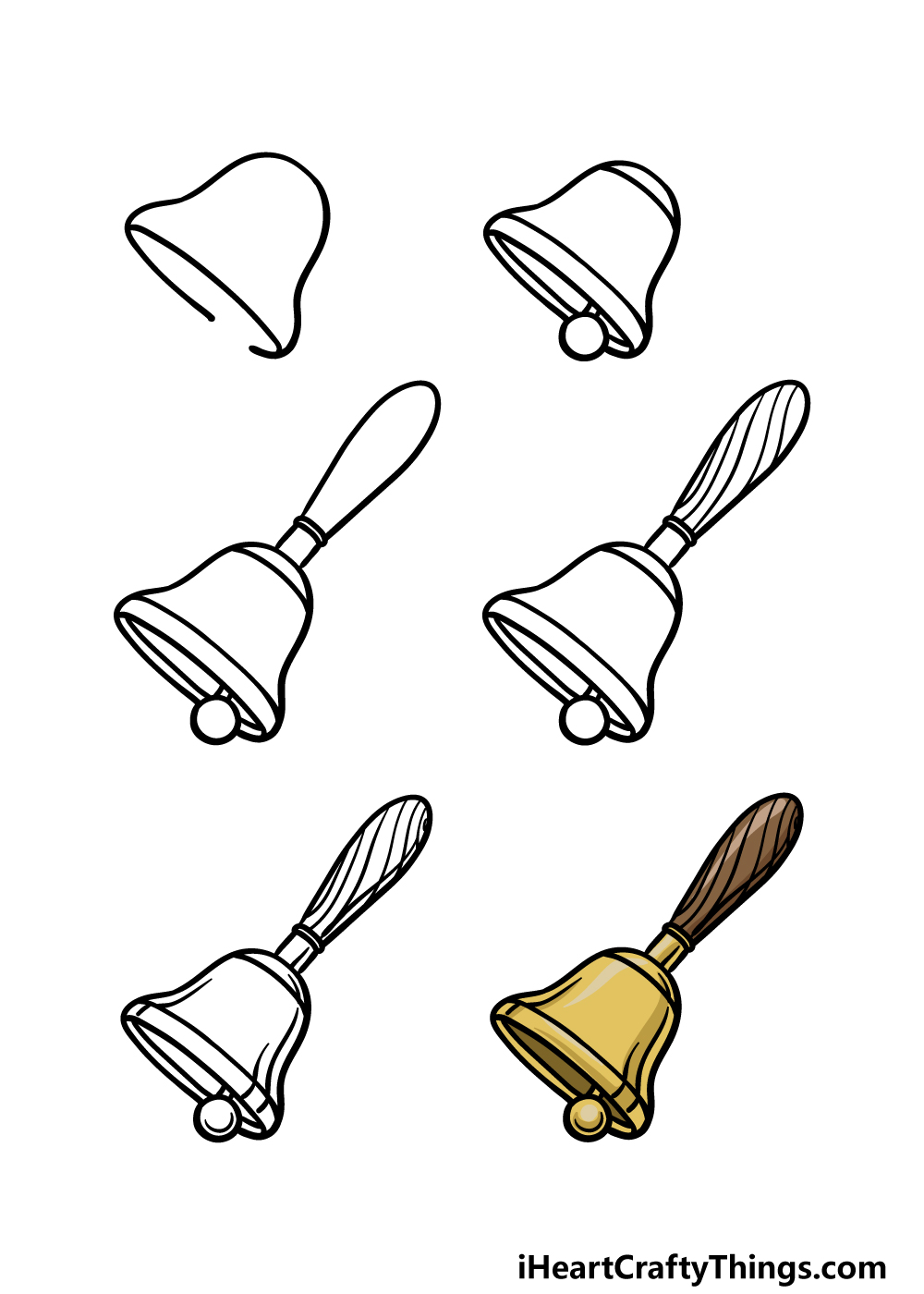how to draw a bell in 6 steps