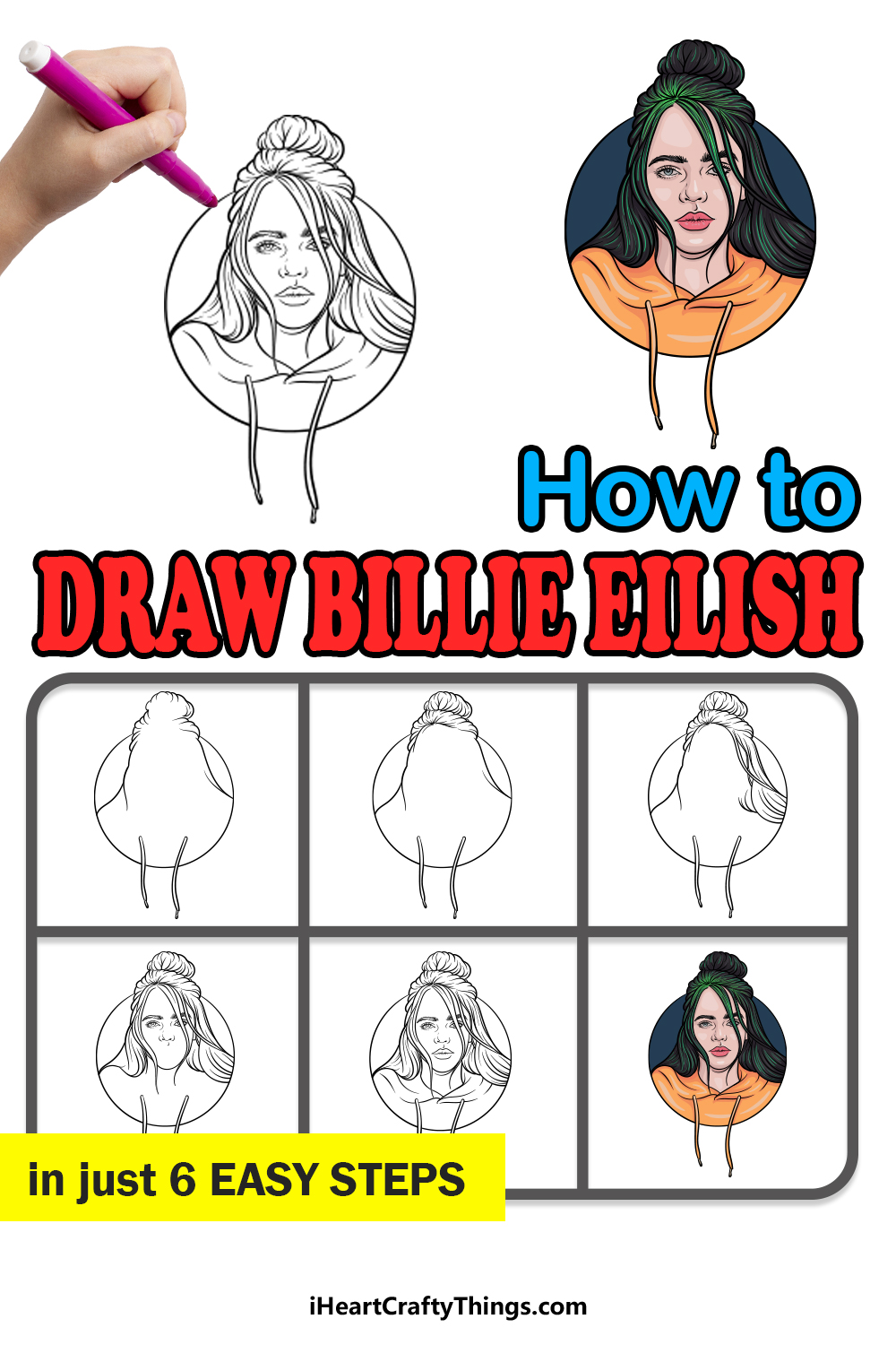 how to draw Billie Eilish in 6 easy steps