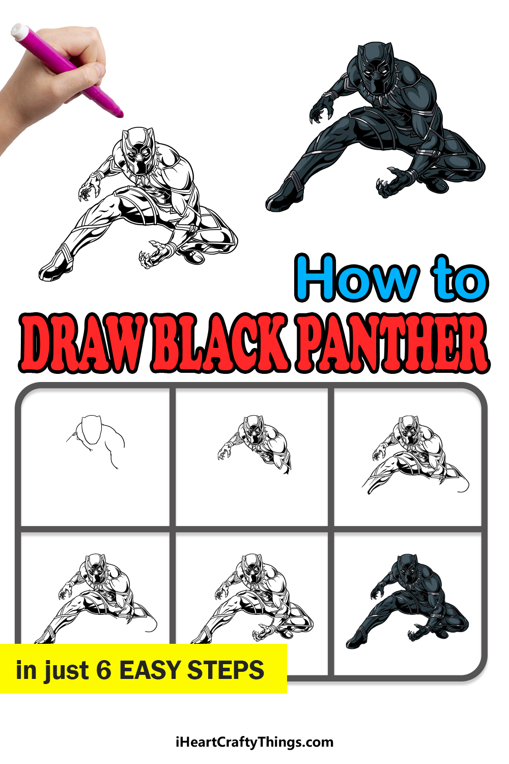 how to draw black panther in 6 easy steps