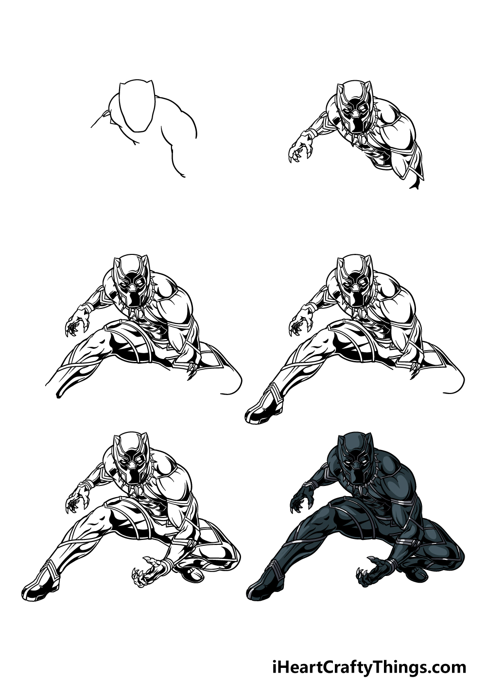 how to draw Black Panther in 6 steps