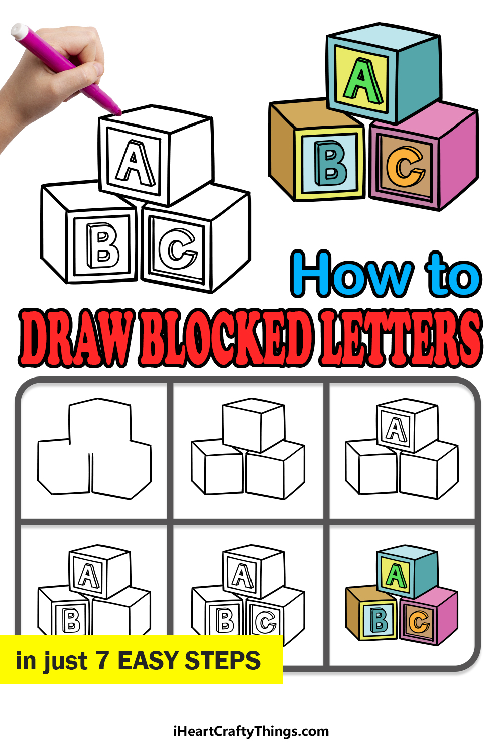 how to draw blocked letters in 7 easy steps