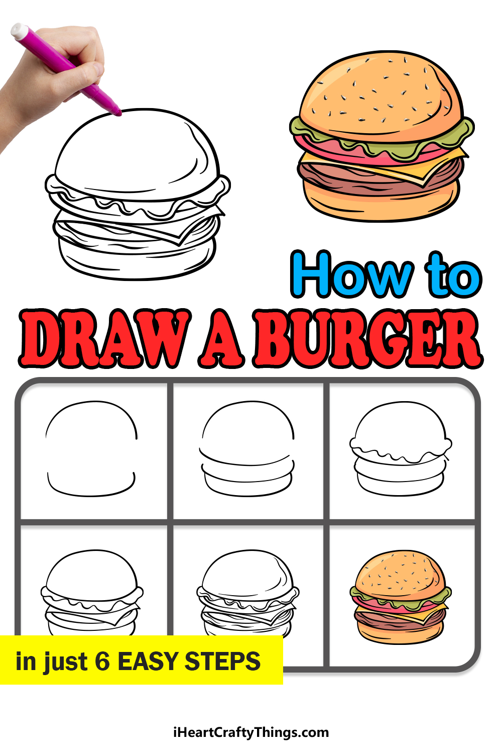how to draw a burger in 6 easy steps
