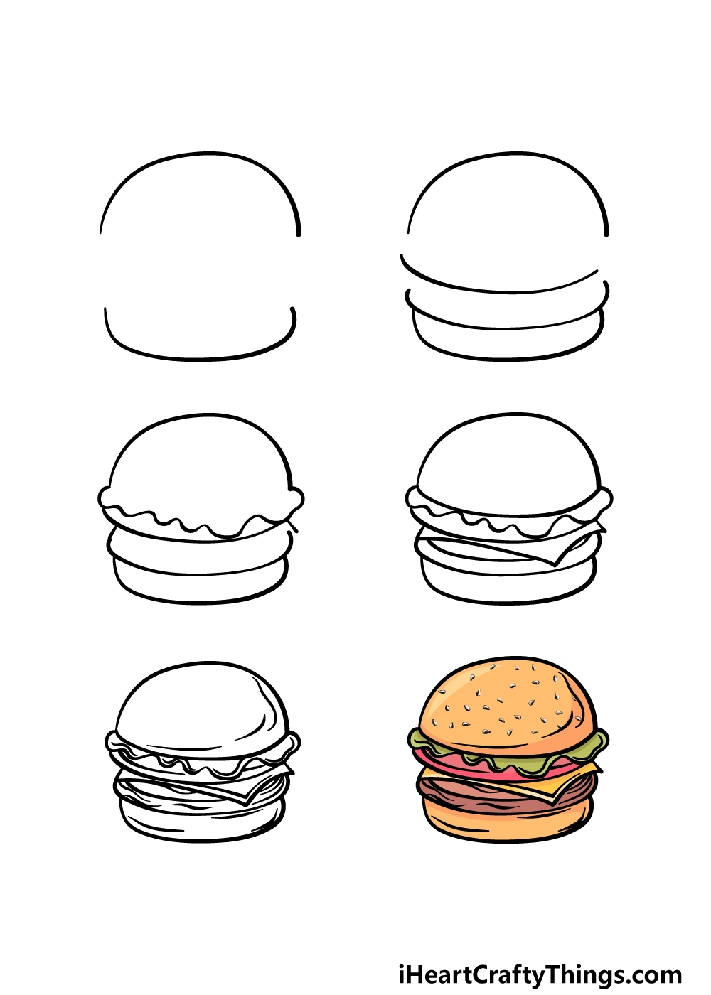 how to draw a burger in 6 steps