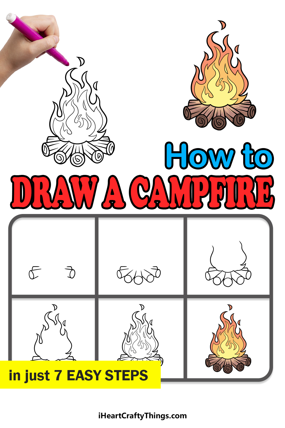 how to draw a campfire in 7 easy steps