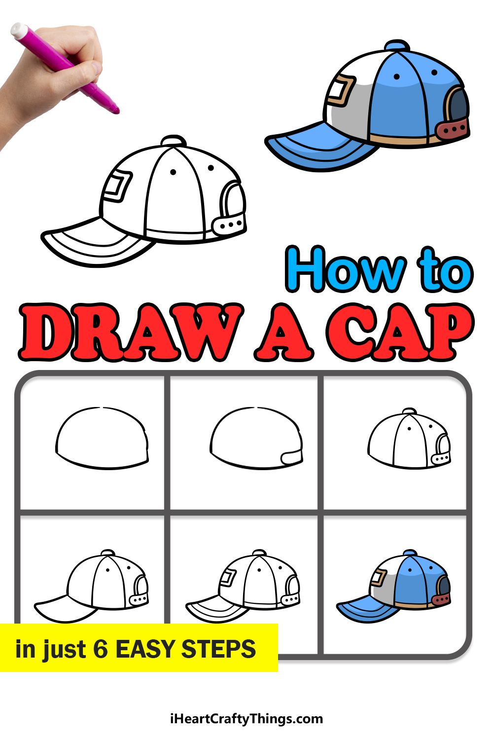 how to draw a cap in 6 easy steps