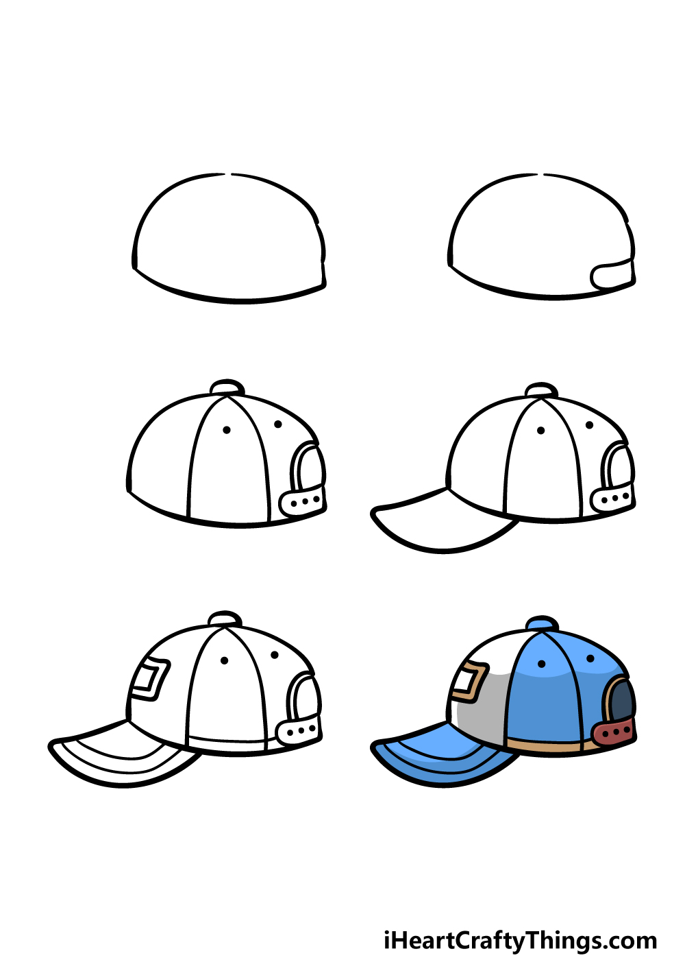 how to draw a cap in 6 steps