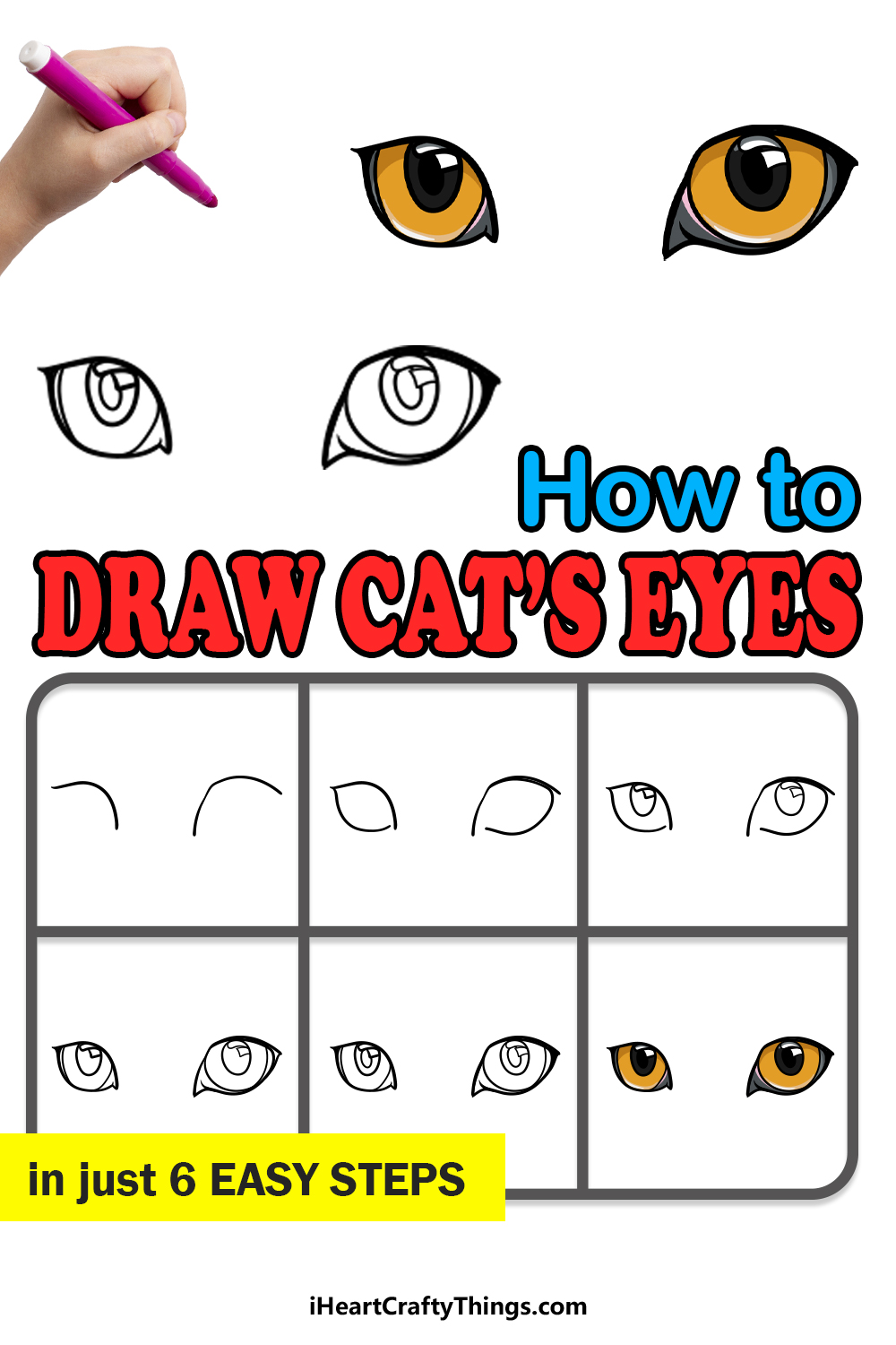 how to draw cat eyes in 6 easy steps