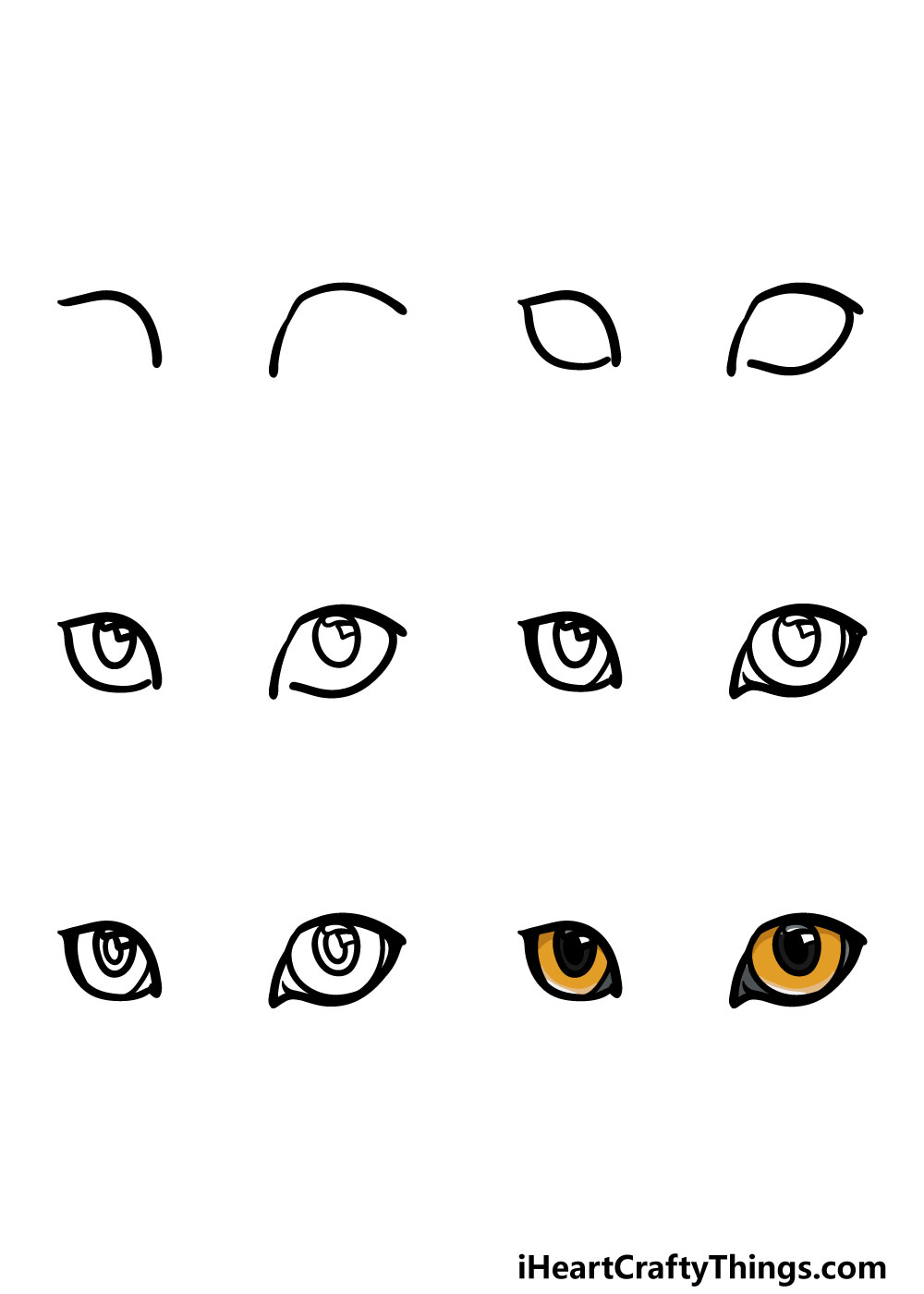 how to draw cat's eyes in 6 steps