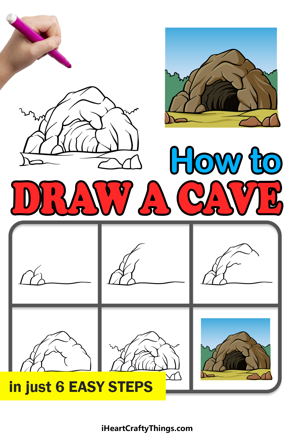 how to draw a cave in 6 easy steps