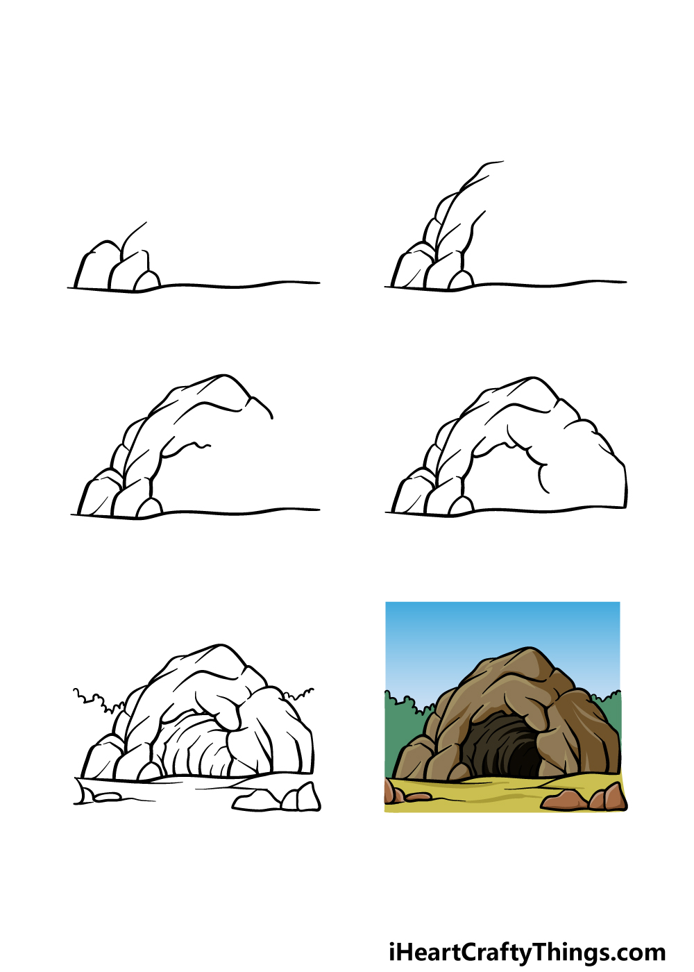 how to draw a cave in 6 steps