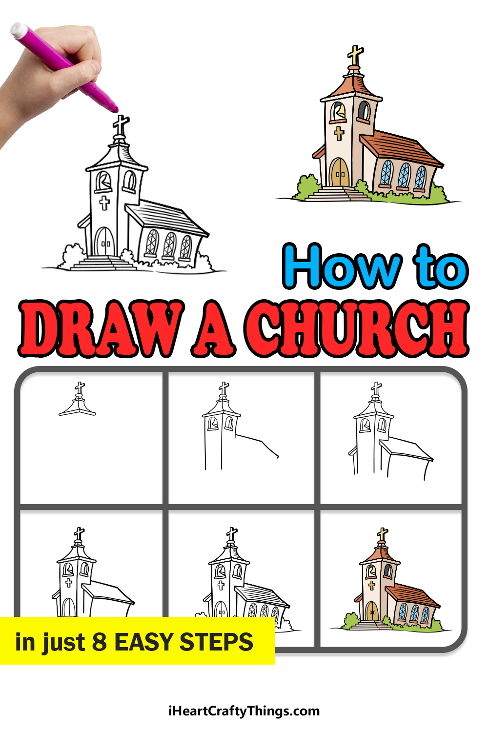 how to draw a church in 8 easy steps