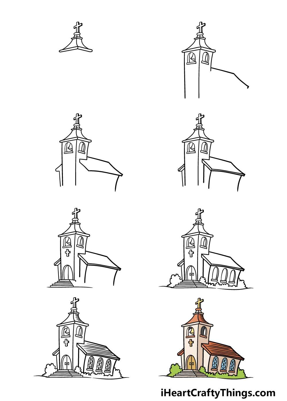 how to draw a church in 8 steps