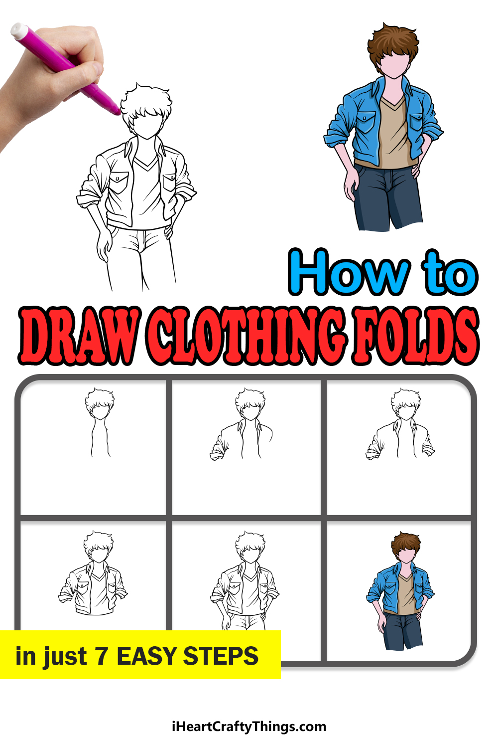 how to draw clothing folds in 7 easy steps