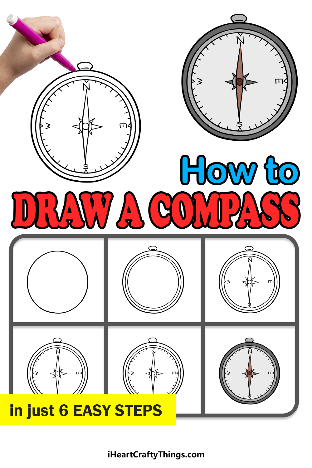 how to draw a compass in 6 easy steps