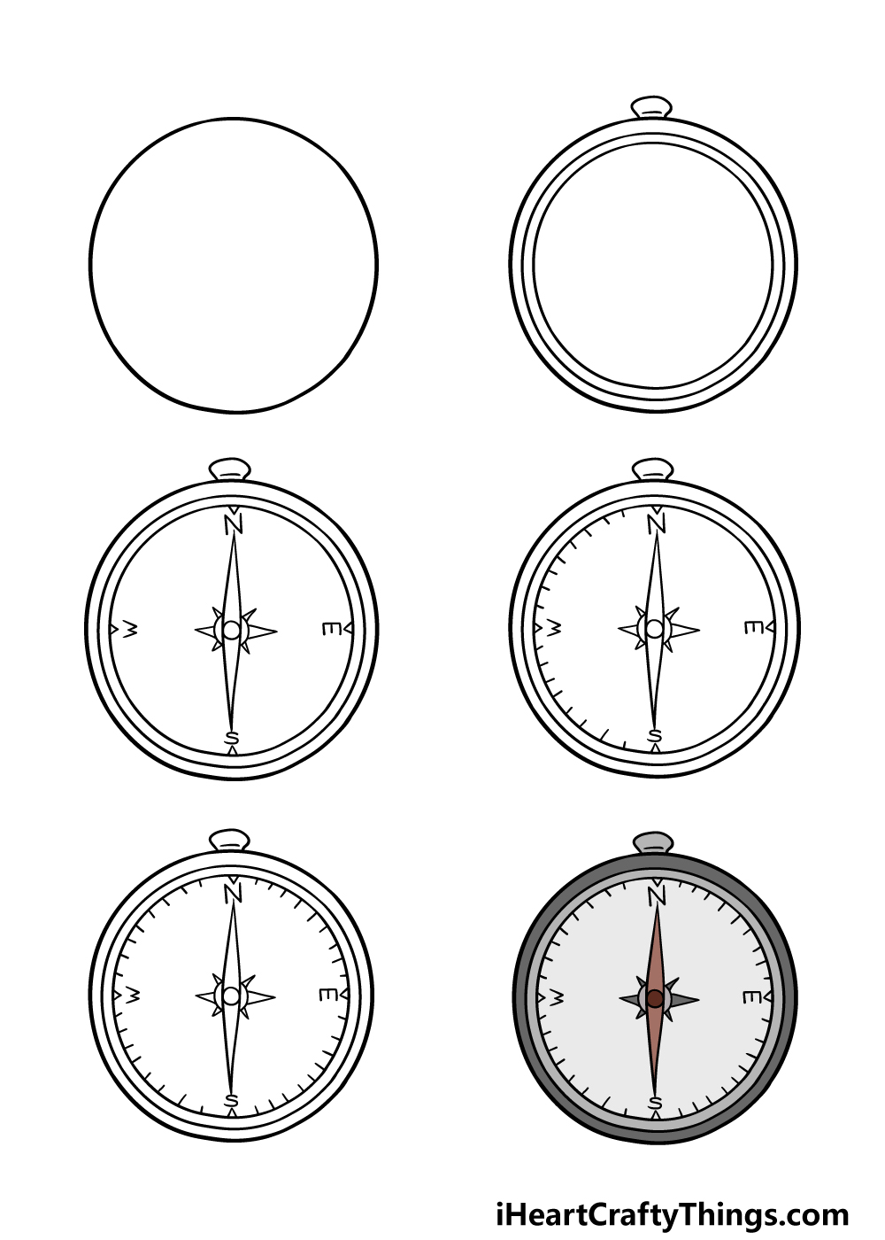 how to draw a compass in 6 steps