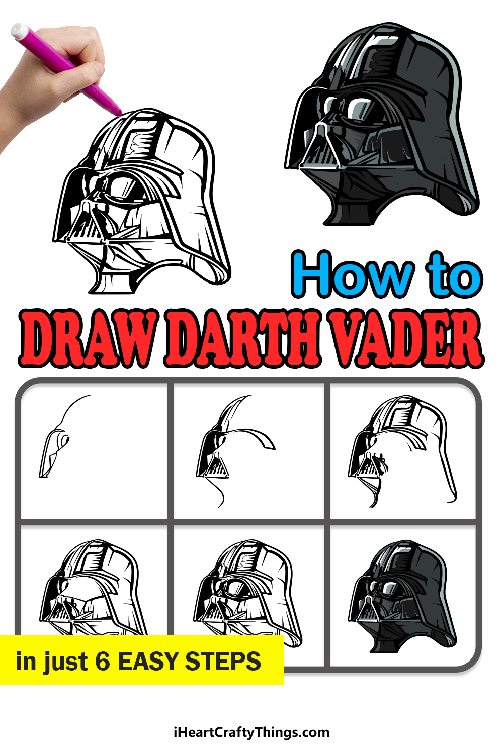 how to draw Darth Vader in 6 easy steps