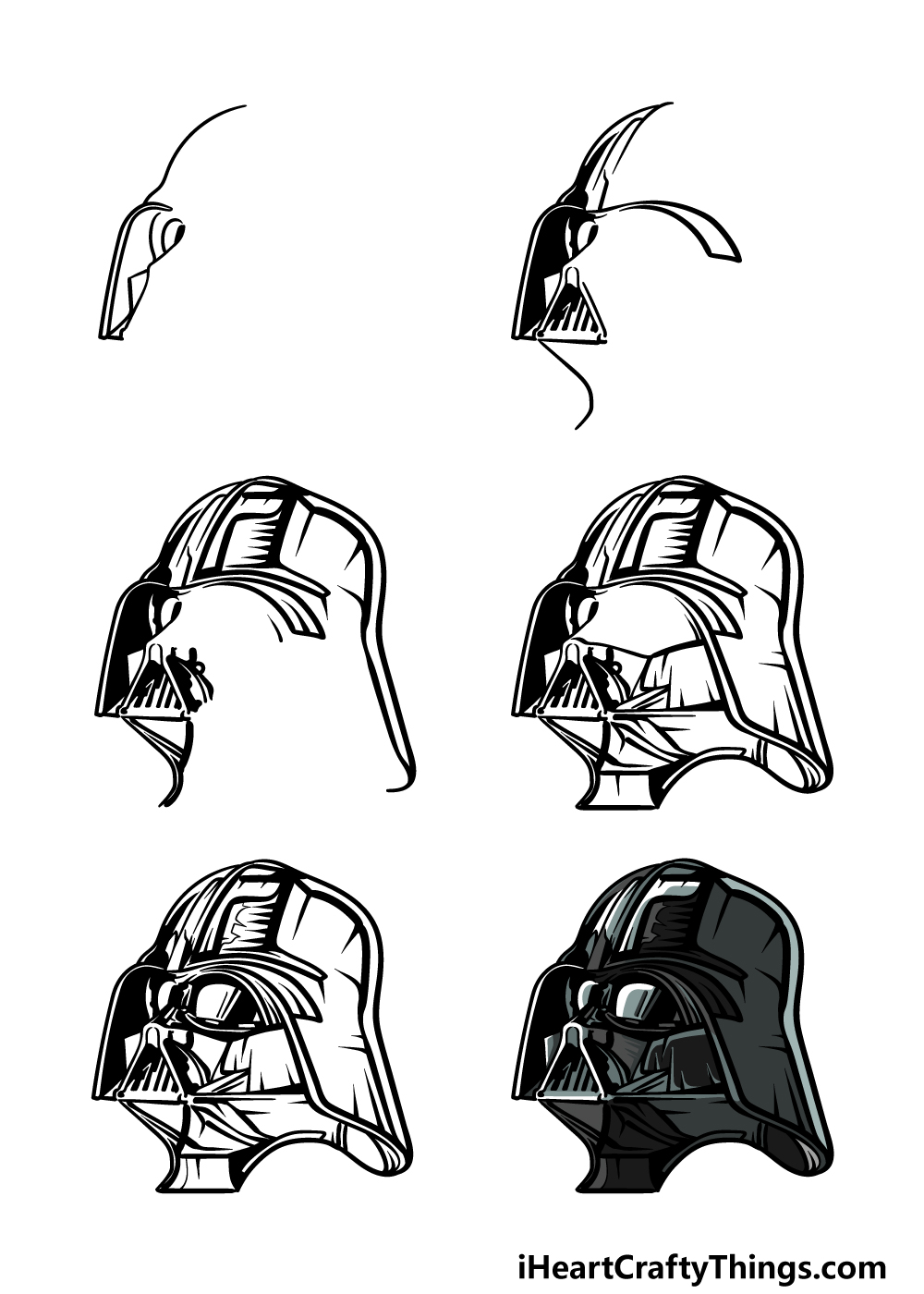 how to draw Darth Vader in 6 steps