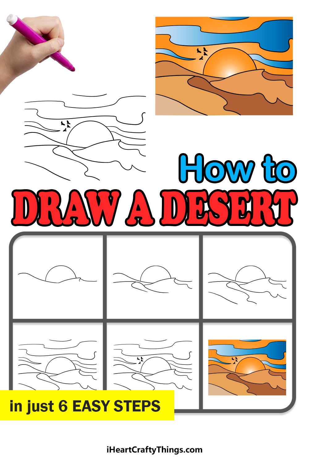 how to draw a desert in 6 easy steps