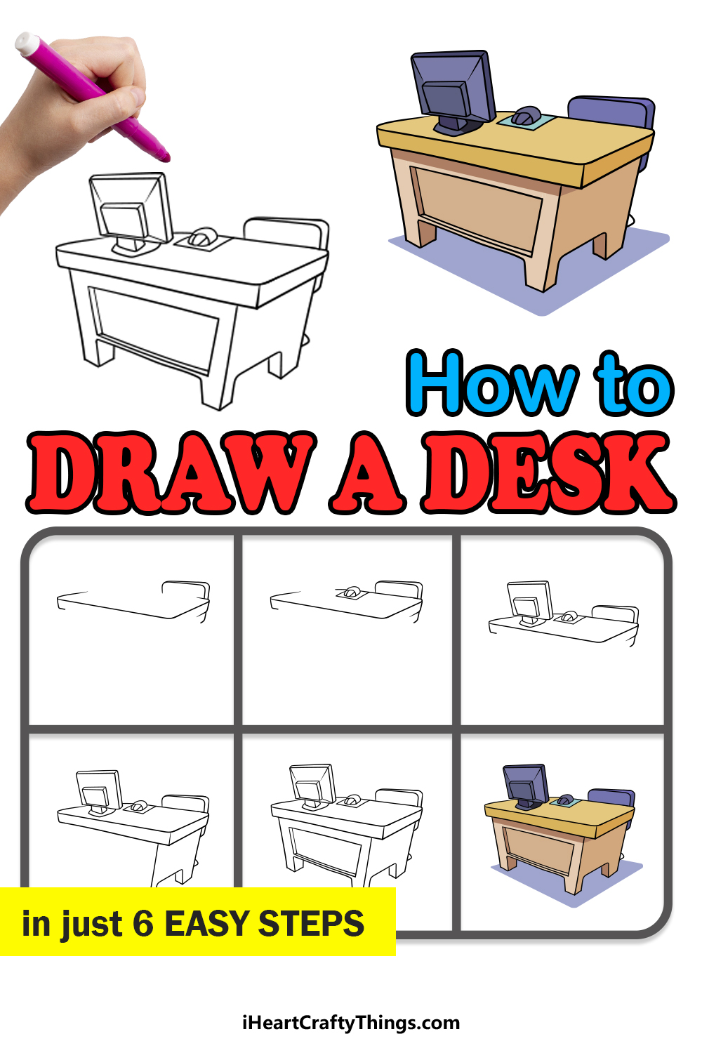 how to draw a desk in 6 easy steps