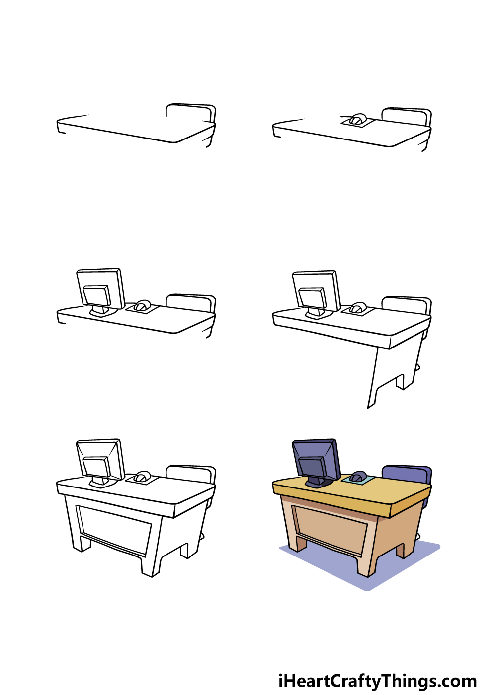 how to draw a desk in 6 steps