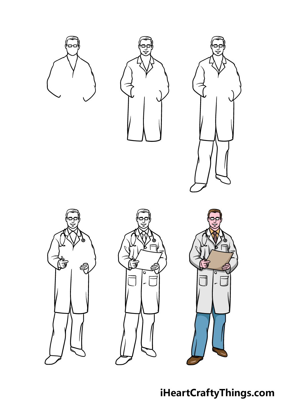 how to draw a doctor in 6 steps