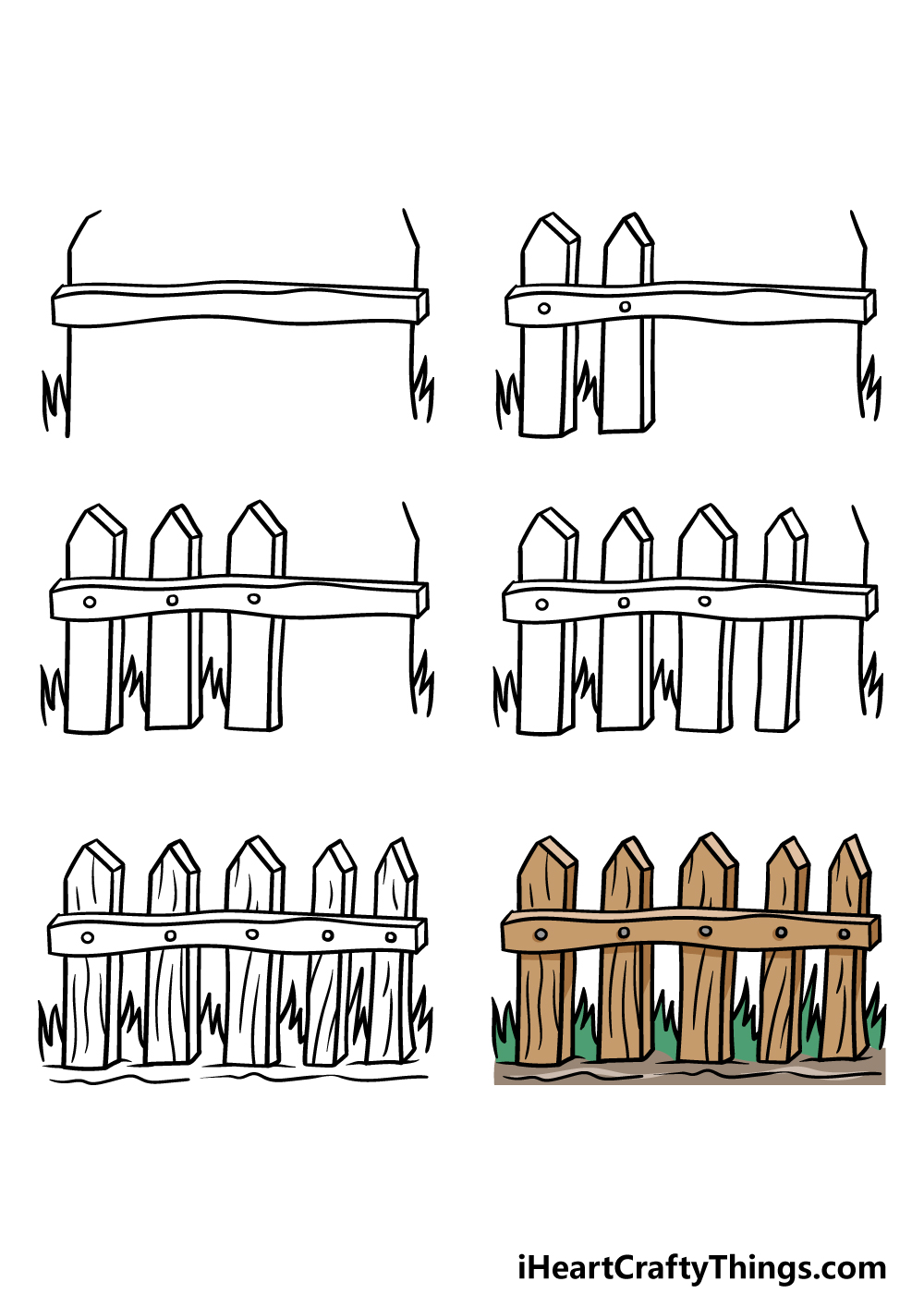 how to draw a fence in 6 steps