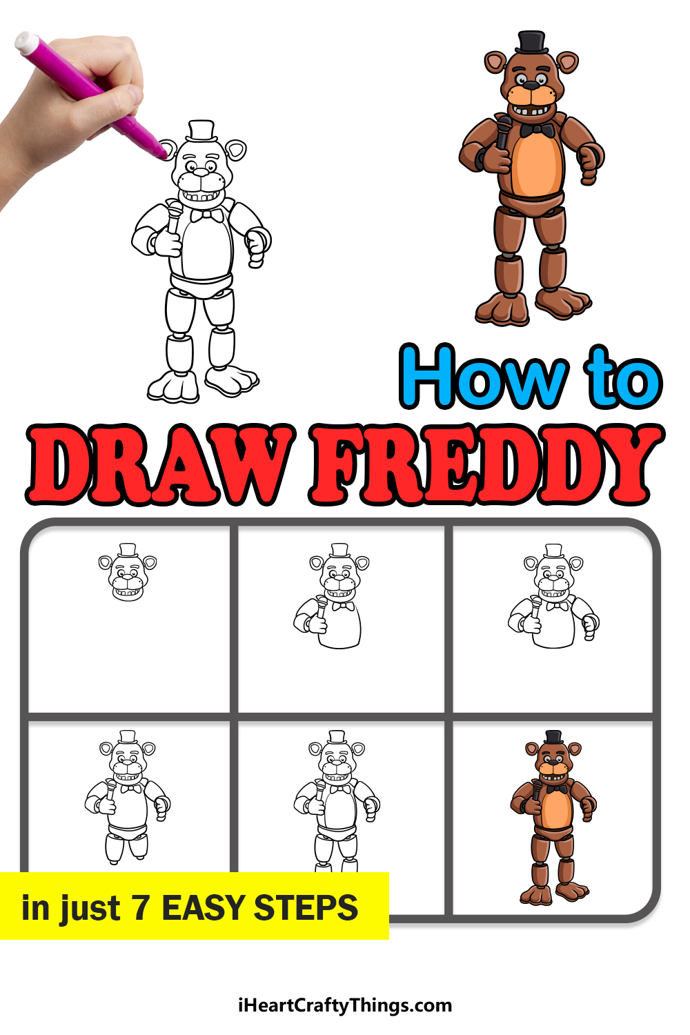 how to draw freddy in 7 easy steps