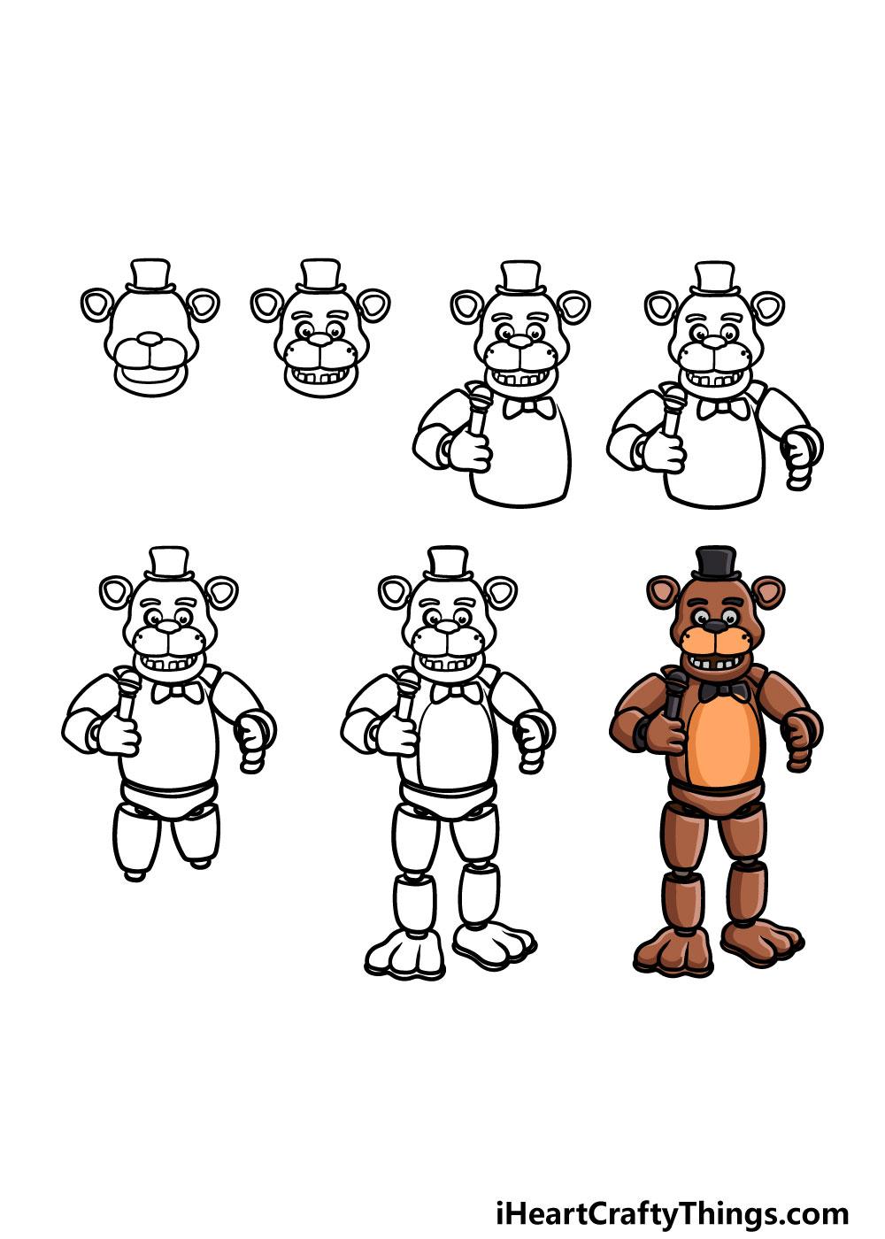 How to Draw Freddy Fazbear in 7 steps
