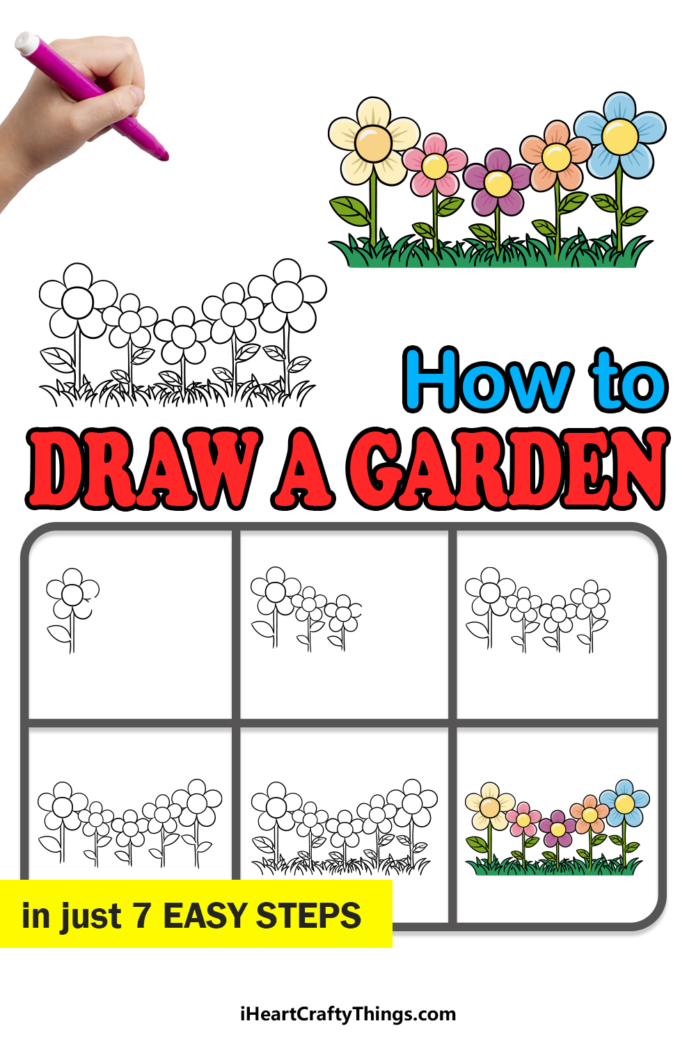 how to draw a garden in 7 easy steps