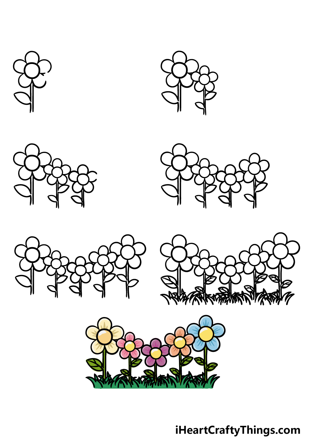 how to draw garden in 7 steps