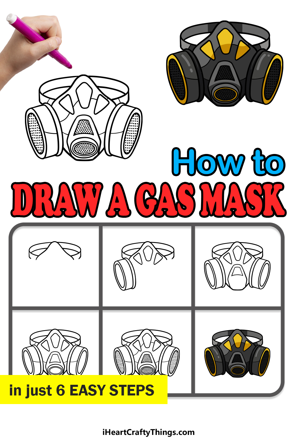 how to draw a gas mask in 6 easy steps