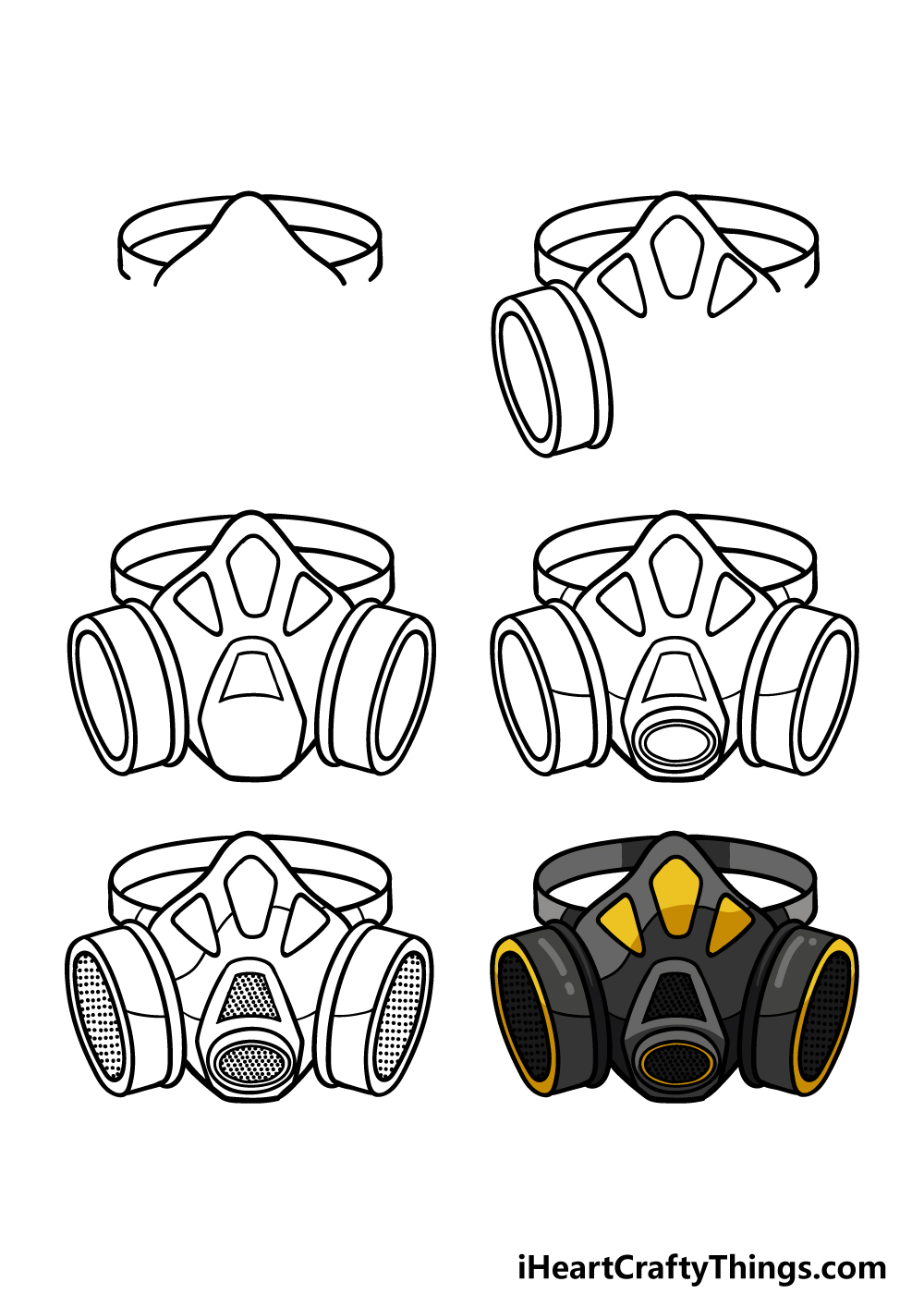 How To Draw A Gas Mask in 6 steps