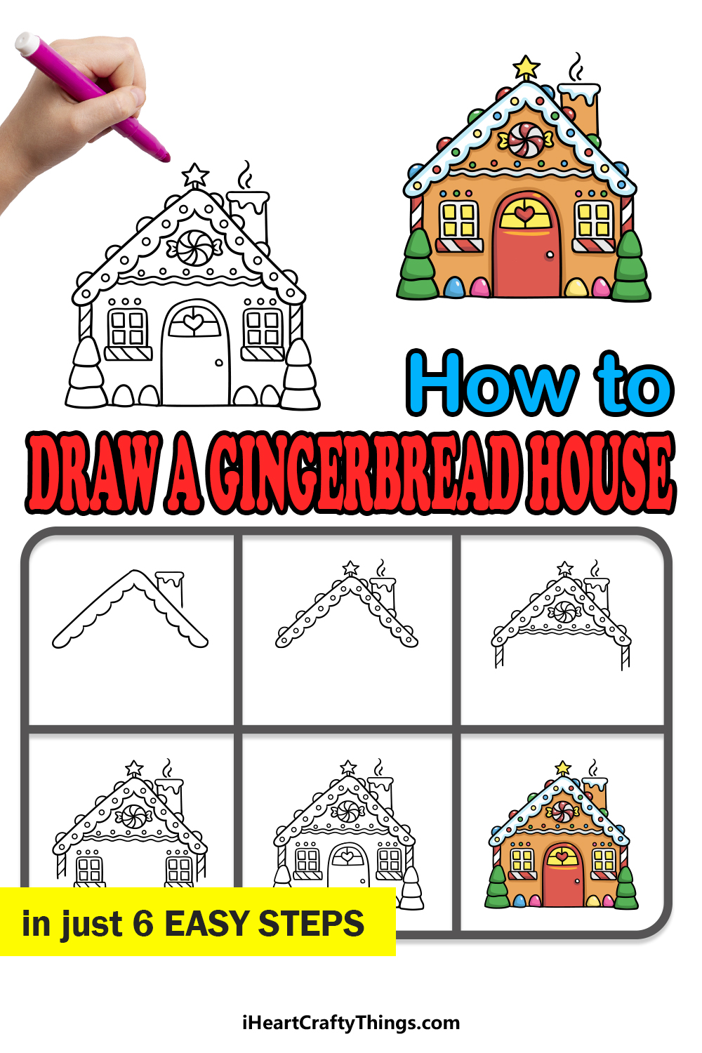 how to draw a gingerbread house in 6 easy  steps