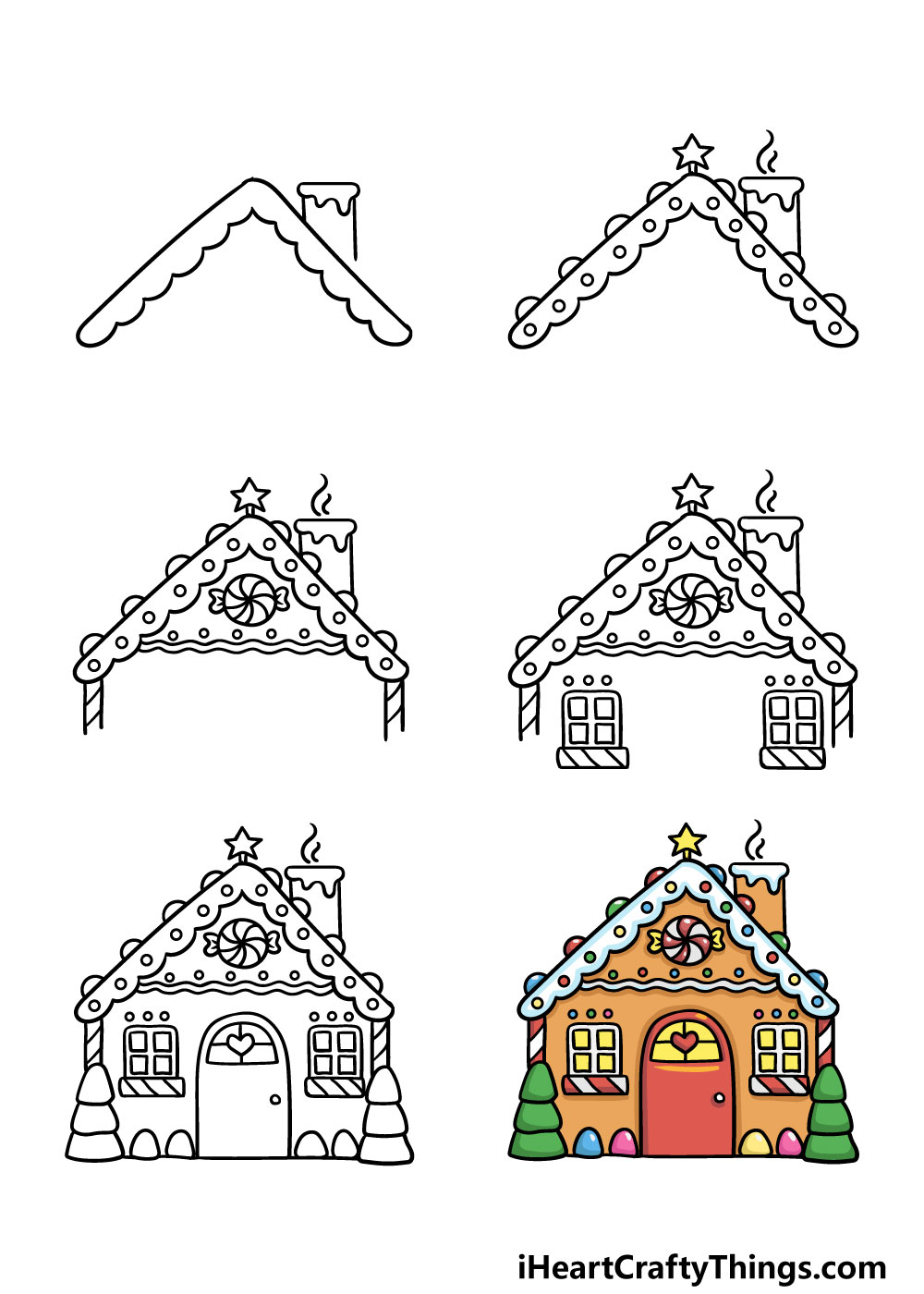 how to draw gingerbread house in 6 steps