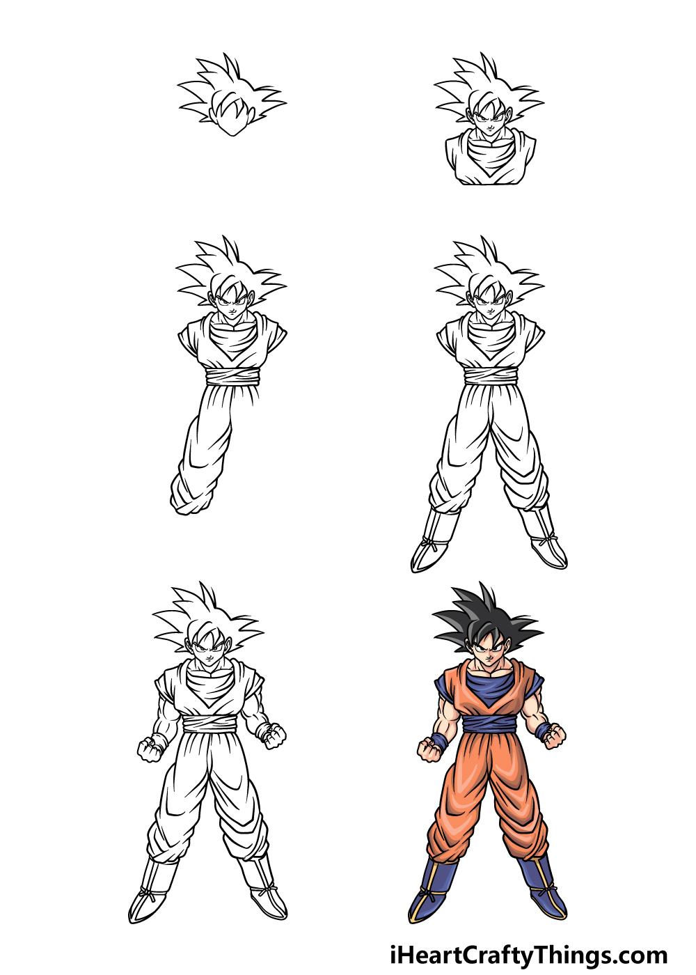 how to draw Goku in 6 steps