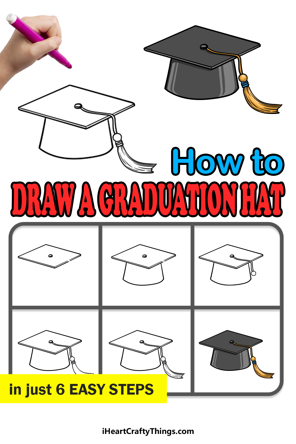 how to draw a Graduation Hat in 6 easy steps