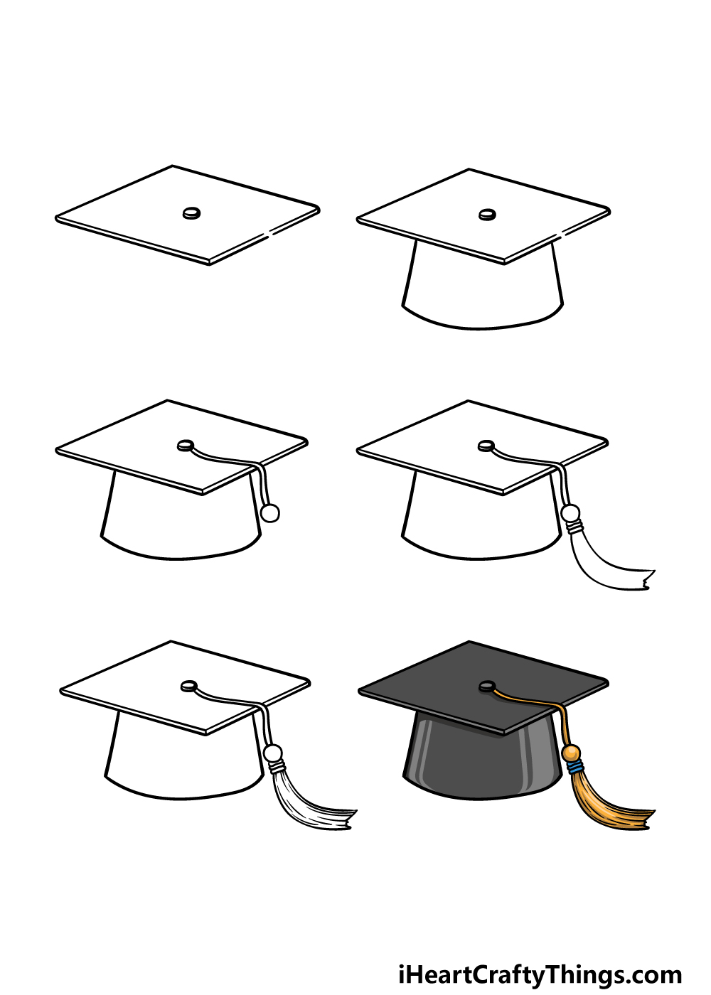 how to draw Graduation Hat in 6 steps