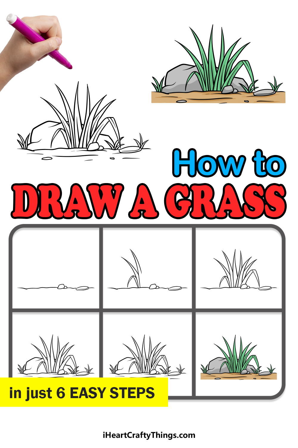 how to draw grass in 6 easy steps