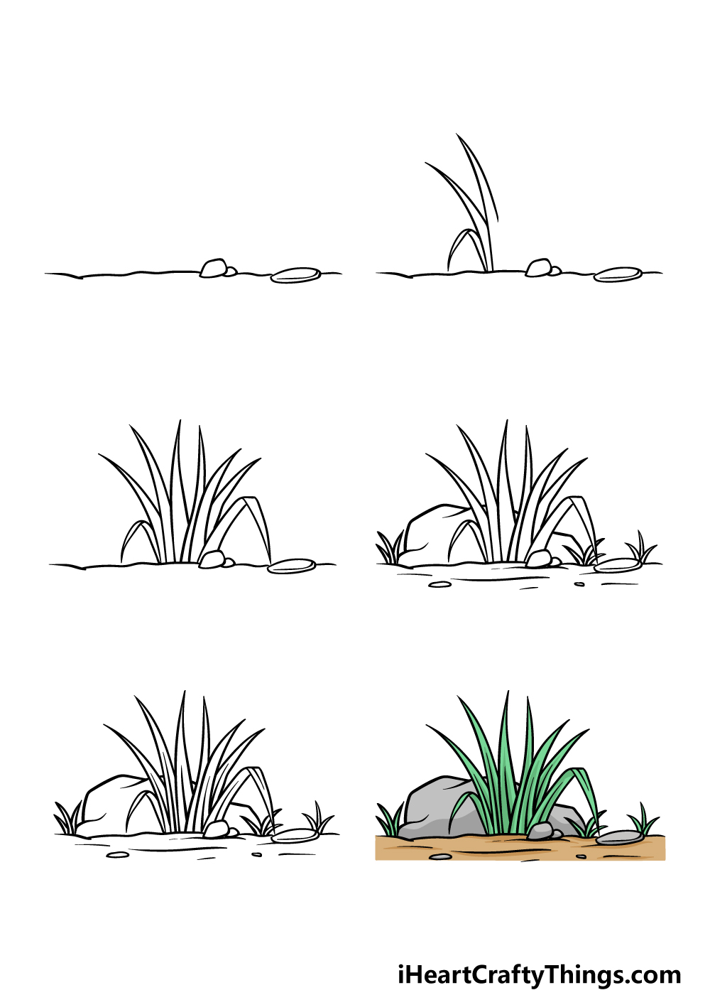 how to draw grass in 6 steps
