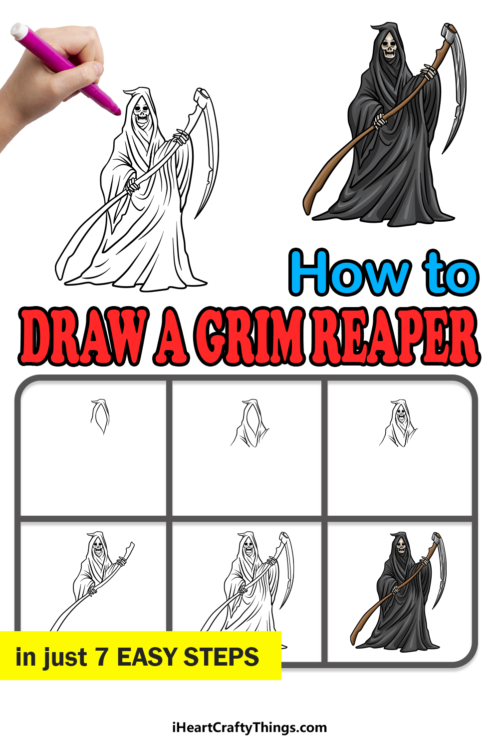 how to draw grim reaper in 7 easy steps