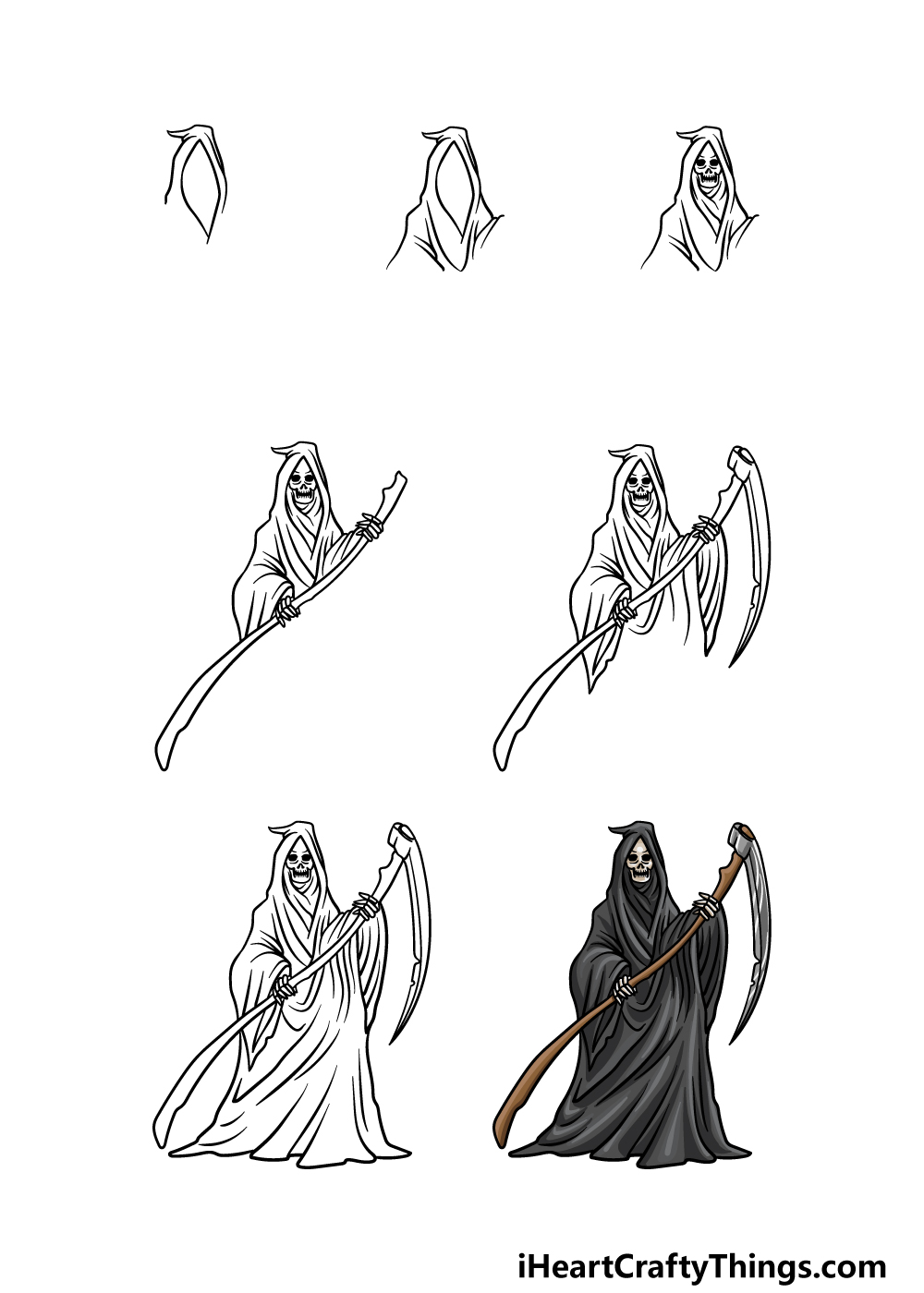 how to draw grim reaper in 7 steps