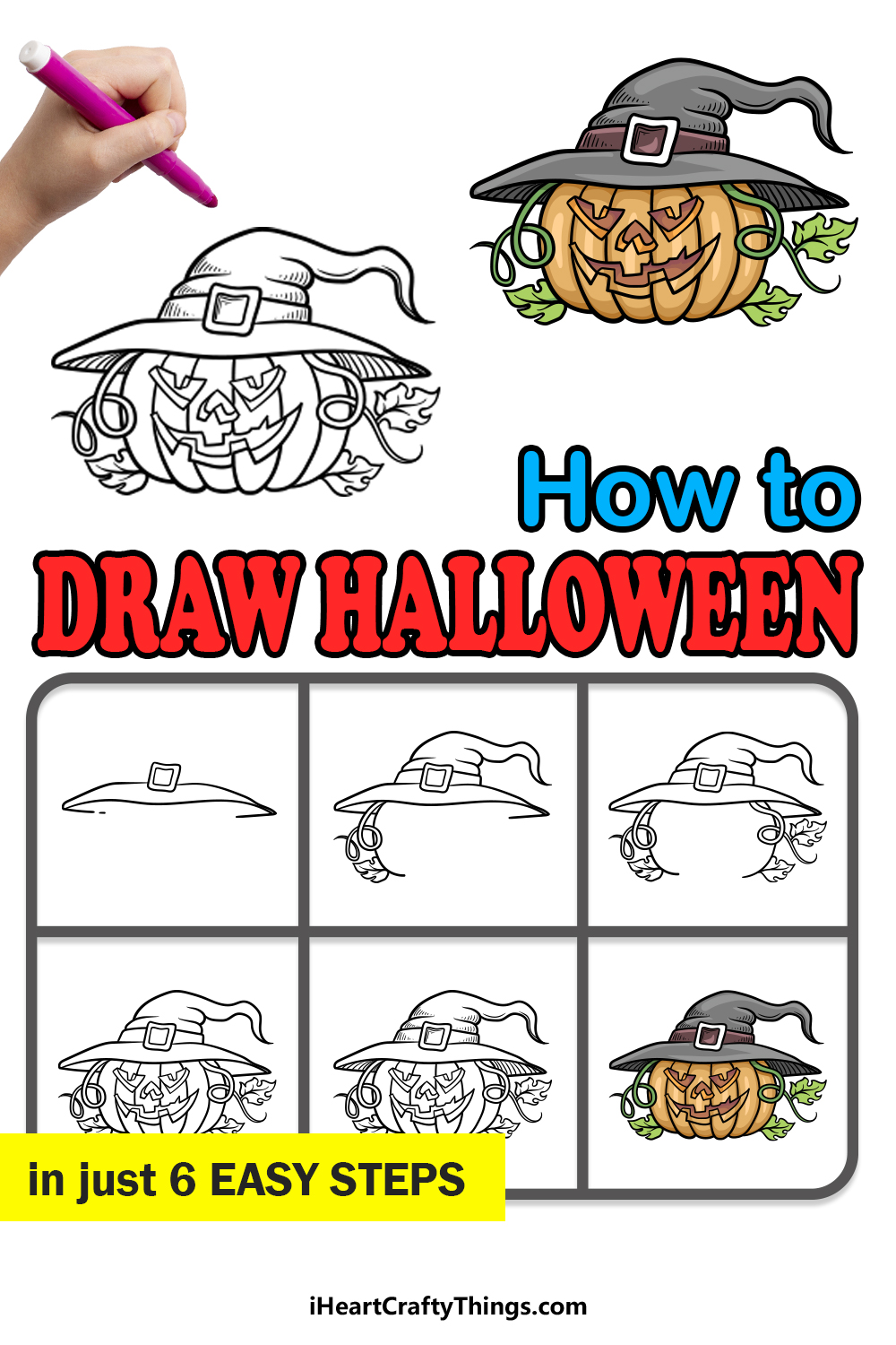 how to draw Halloween in 6 easy steps
