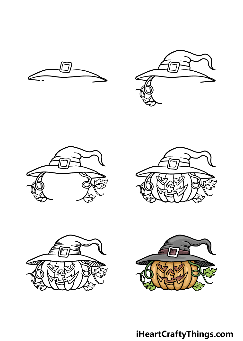 how to draw Halloween in 6 steps