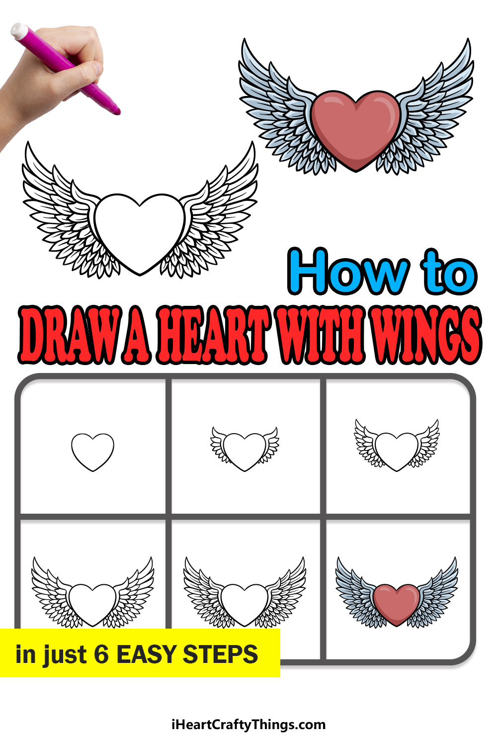 how to draw a heart with wings in 6 easy steps