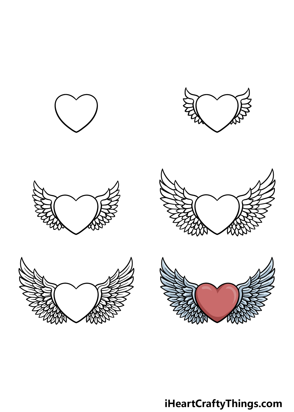 how to draw a heart with wings in 6 steps