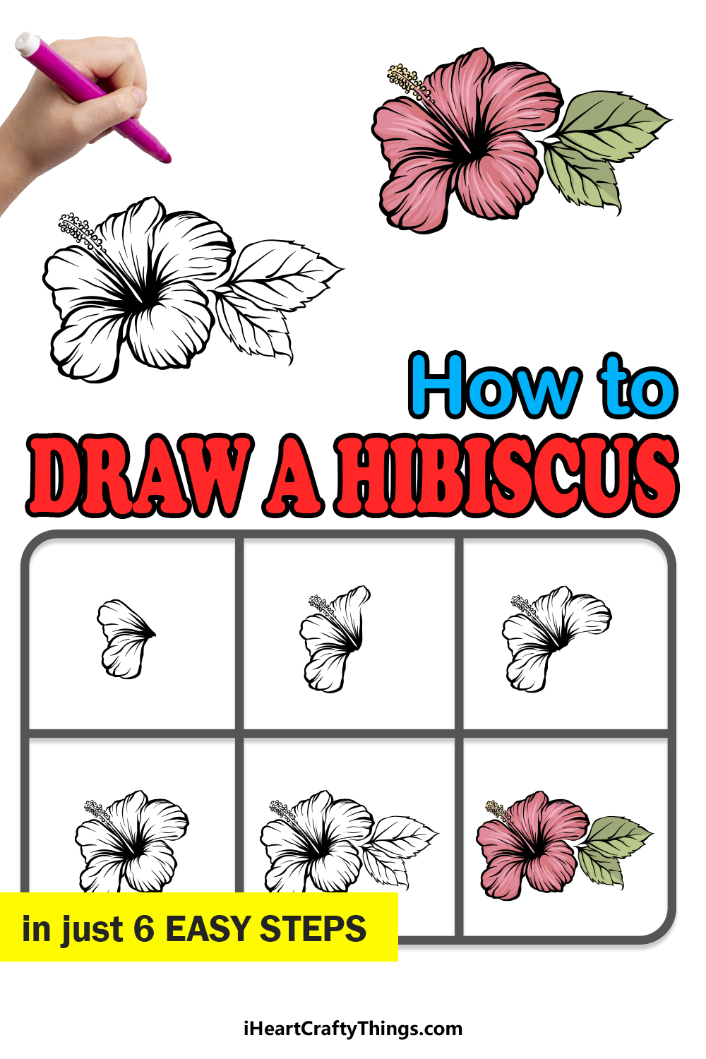 how to draw a hibiscus in 6 easy steps